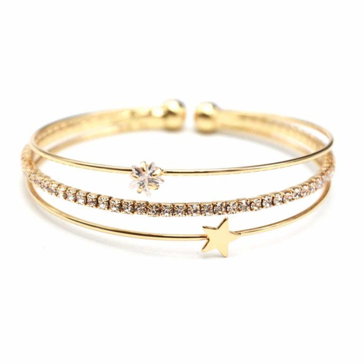 Bracelet-Jonc-Multi-Rangs-avec-Pierre-Strass-et-Etoile-Metal-Dore