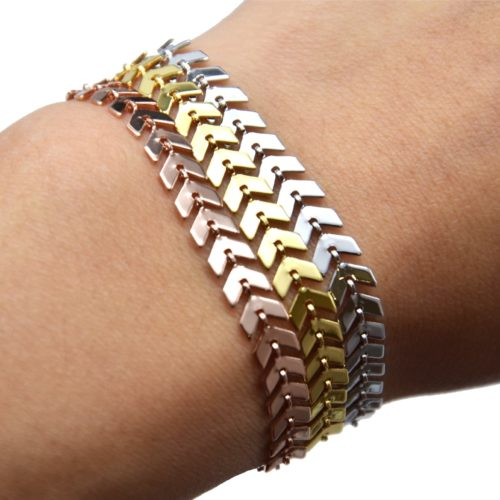 Bracelet-avec-Multi-Chevrons-Metal-Dore-a-lOr-Fin