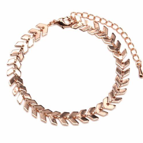 Bracelet-avec-Multi-Chevrons-Or-Rose-Metal-Dore-a-lOr-Fin