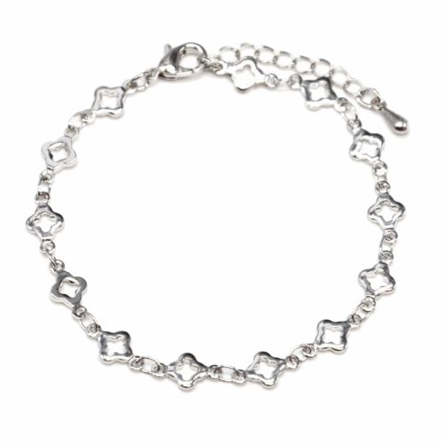 Bracelet-avec-Multi-Trefles-Argente-Metal-Dore-a-lOr-Fin