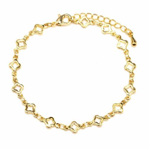 Bracelet-avec-Multi-Trefles-Dore-Metal-Dore-a-lOr-Fin