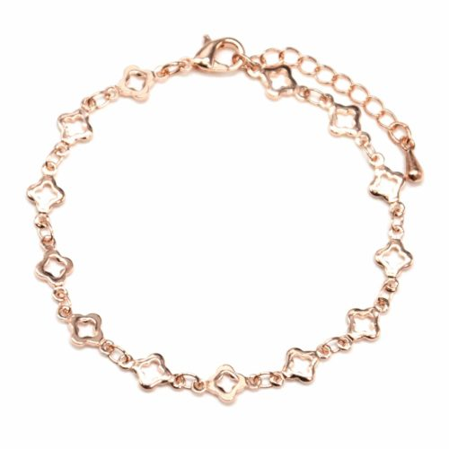 Bracelet-avec-Multi-Trefles-Or-Rose-Metal-Dore-a-lOr-Fin