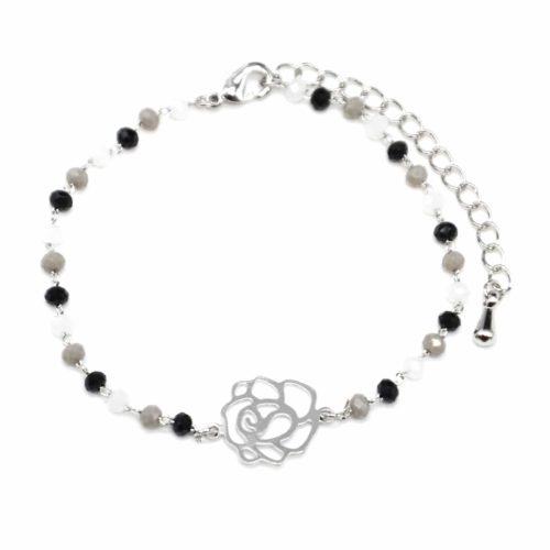 Bracelet-Mini-Perles-Noir-Gris-avec-Charm-Fleur-Ajouree-Metal-Argente