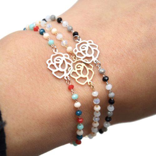 Bracelet-Mini-Perles-avec-Charm-Fleur-Ajouree-Metal