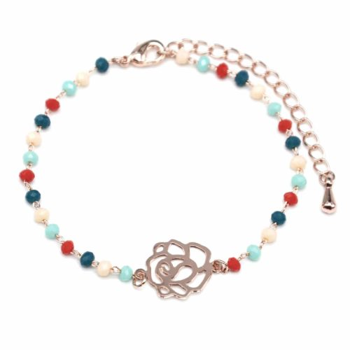 Bracelet-Mini-Perles-Multicolore-avec-Charm-Fleur-Ajouree-Metal-Or-Rose