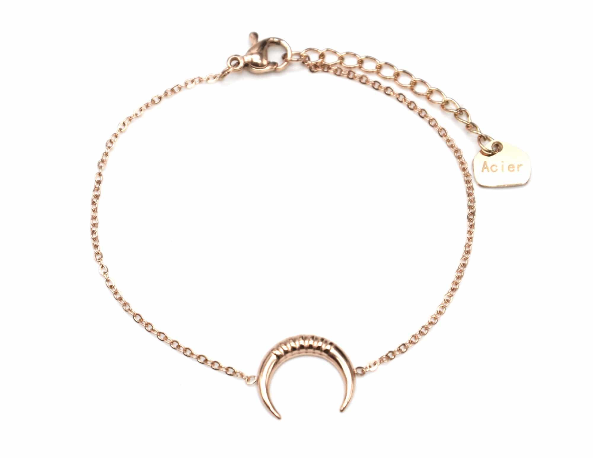 Bracelet,Fine,Chaine,avec,Charm,Corne,Lune,Motif,