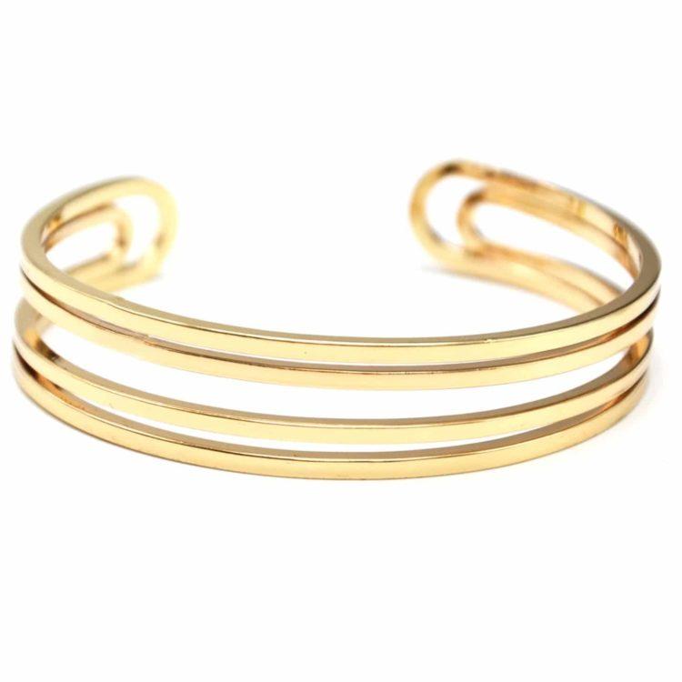 Bracelet-Jonc-Multi-Rangs-Barres-Metal-Dore