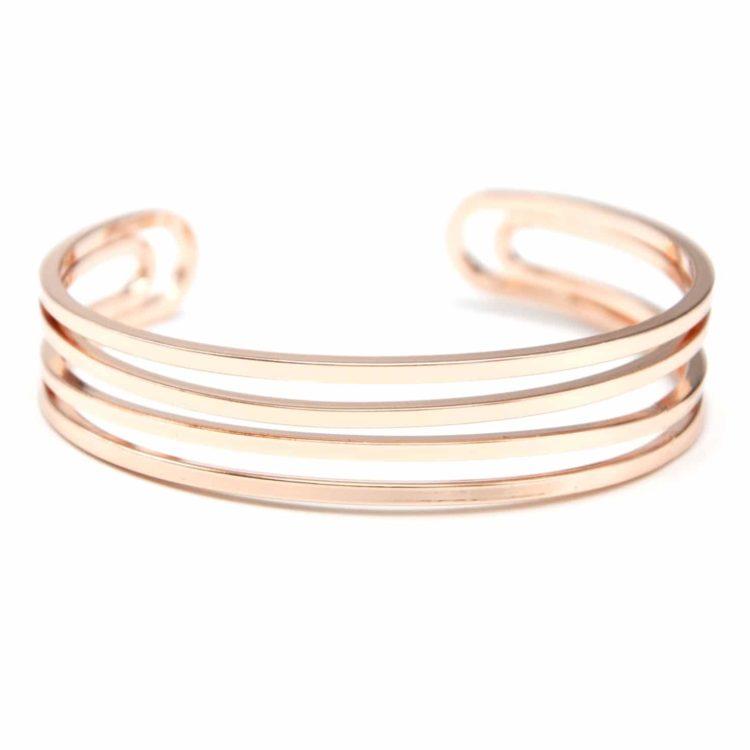 Bracelet-Jonc-Multi-Rangs-Barres-Metal-Or-Rose