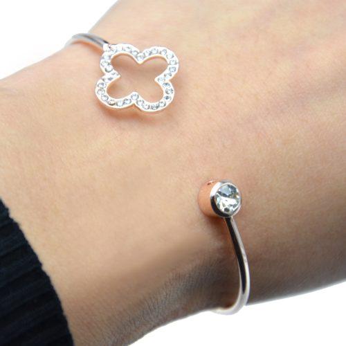 Bracelet-Jonc-Ouvert-avec-Pierre-et-Trefle-Contour-Strass-Or-Rose