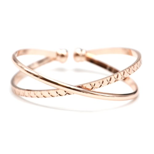 Bracelet-Ouvert-Double-Jonc-Croises-Metal-Or-Rose-et-Relief-Ecailles