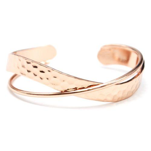 Bracelet-Manchette-Ouverte-Bande-Relief-et-Jonc-Croises-Metal-Or-Rose