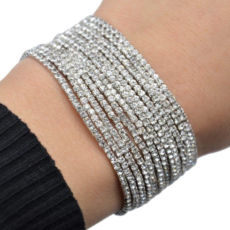 Lot-de-12-Bracelets-Elastique-1-Rangee-de-Strass-Argente-Chic