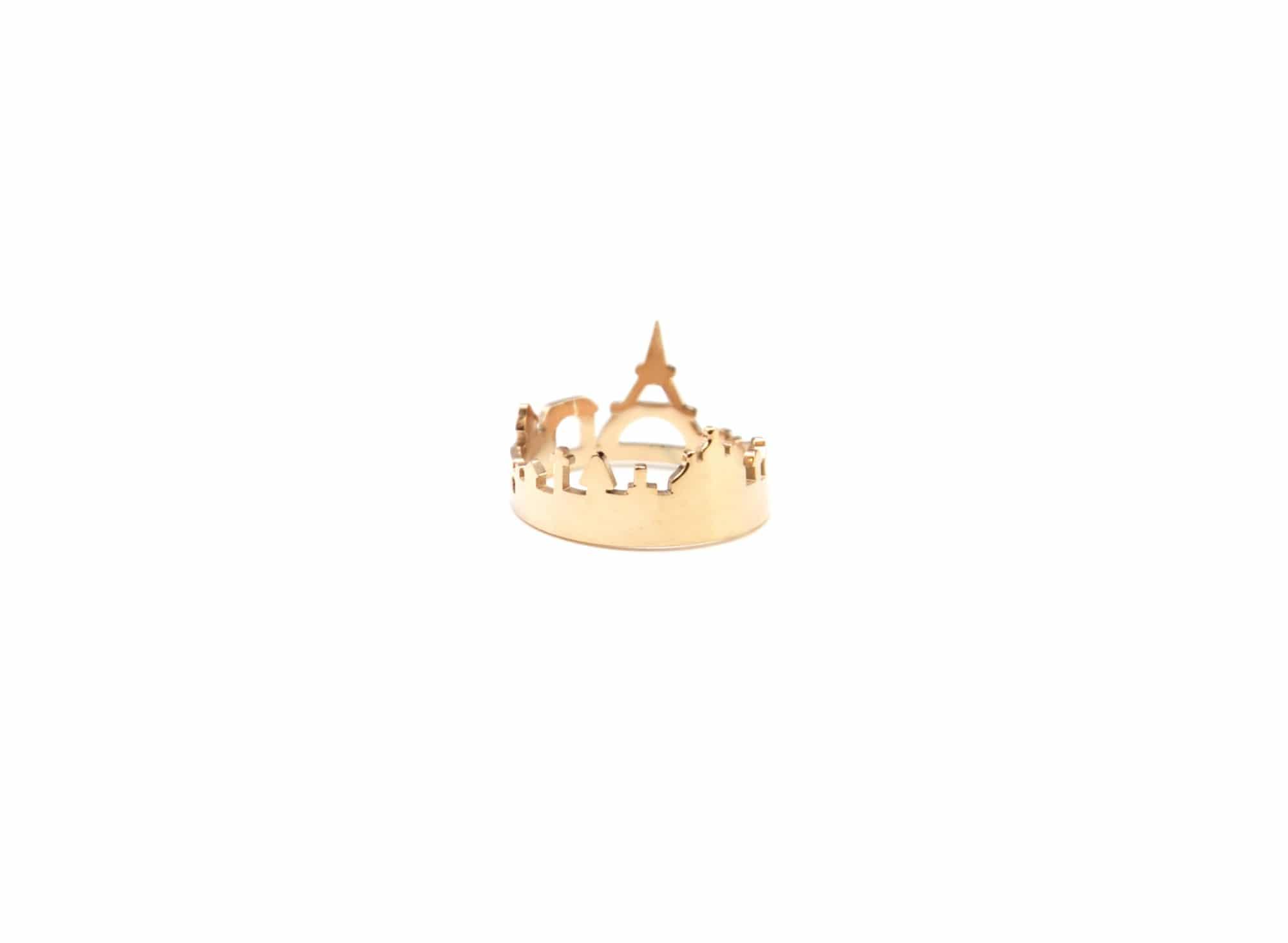 Bague Ouverte avec Motif Relief Monuments Paris Acier Or Rose et Tou... BG314F