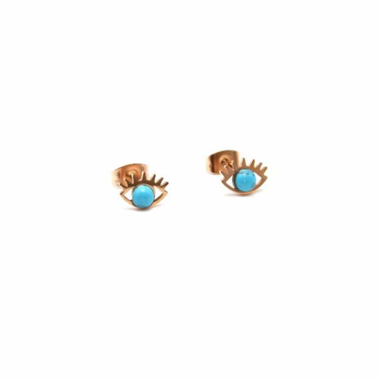 Boucles-dOreilles-Oeil-Acier-Or-Rose-et-Pierre-Effet-Marbre-Turquoise