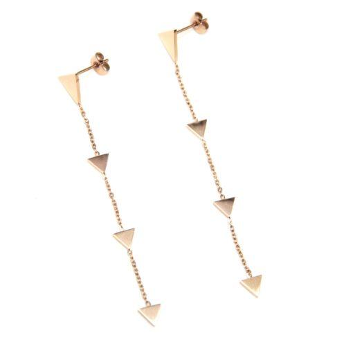 Boucles-dOreilles-Pendantes-avec-Multi-Triangles-Acier-Or-Rose-et-Fine-Chaine
