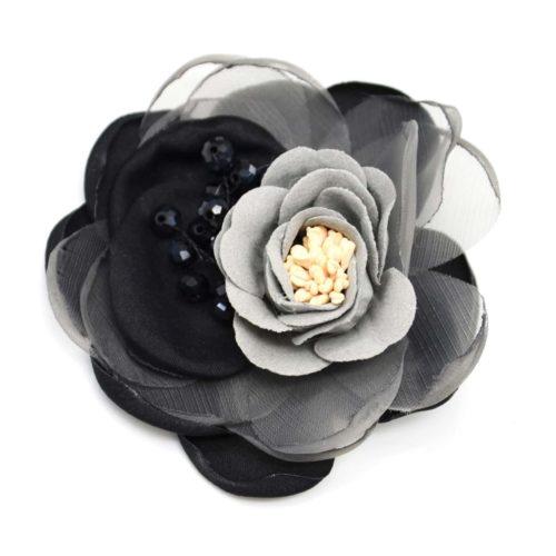 Broche-Epingle-Fleur-XXL-avec-Petales-Tissu-Organza-NoirGris-et-Perles