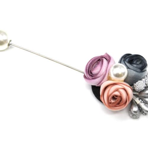 Broche-Epingle-avec-Bouquet-Fleurs-Tissu-Multicolore-et-Perle-Blanche