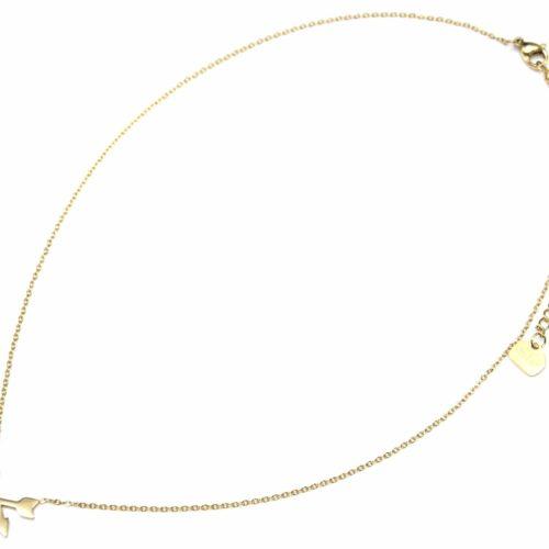 Collier-Fine-Chaine-Pendentif-Fleches-Croisees-Acier-Dore