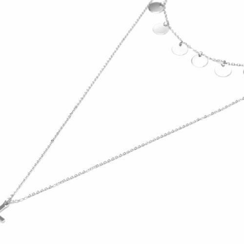 Collier-Double-Chaine-avec-Multi-Pampilles-et-Croix-Argente-Metal-Dore-a-lOr-Fin