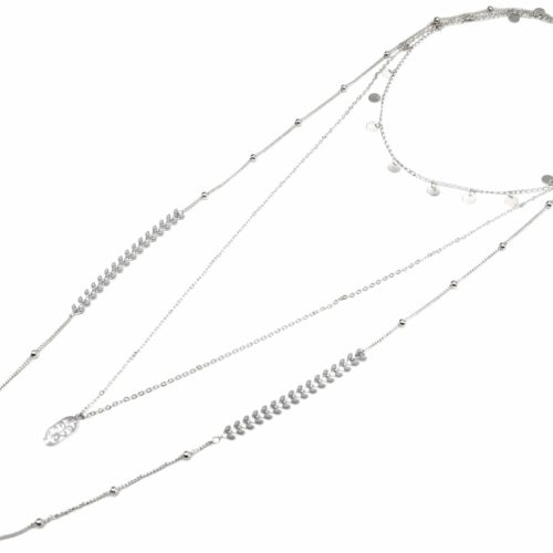 Collier-Multi-Rangs-avec-Pampilles-Chaine-Epi-Gris-et-Boules-Metal-Argente