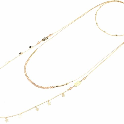 Collier-Multi-Rangs-avec-Boules-Perles-Beige-et-Etoiles-Metal-Dore