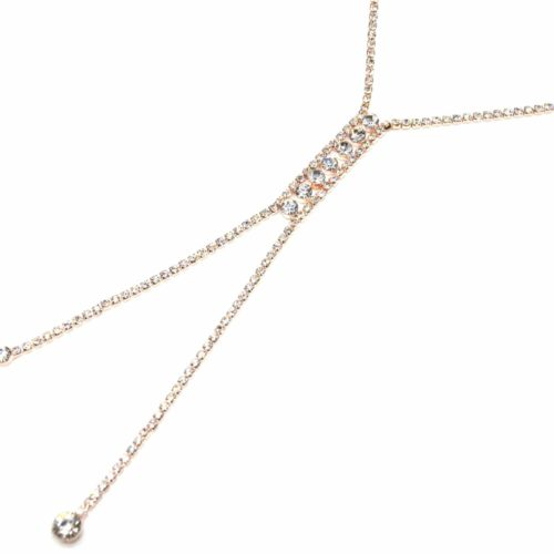 Collier-Fine-Rangee-Strass-Or-Rose-et-Pendentif-Y-Multi-Pierres