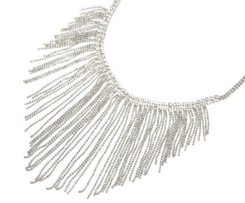 Collier-Plastron-Fine-Rangee-Strass-et-Multi-Chaines-Pendantes-Metal-Argente