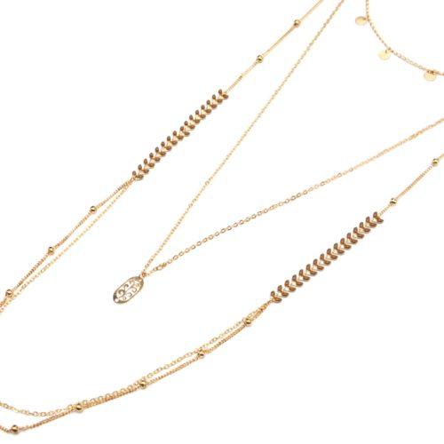 Collier-Multi-Rangs-avec-Pampilles-Chaine-Epi-Taupe-et-Boules-Metal-Dore
