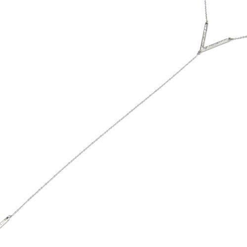 Collier-Fine-Chaine-Acier-avec-Pendentif-Y-Chevron-et-Barre-Strass-Argente
