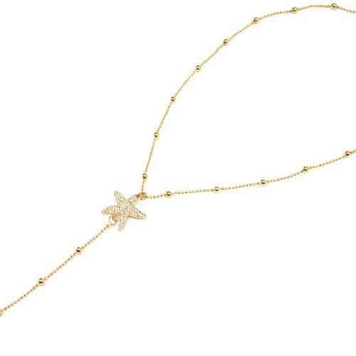 Collier-Fine-Chaine-avec-Boules-et-Pendentif-Y-Etoiles-de-Mer-Strass-Metal-Dore