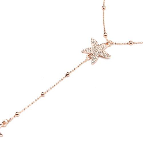 Collier-Fine-Chaine-avec-Boules-et-Pendentif-Y-Etoiles-de-Mer-Strass-Metal-Or-Rose