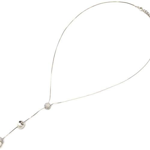 Sautoir-Collier-avec-Pendentif-Y-Boule-Strass-Metal-Argente-et-Perles-Blanches