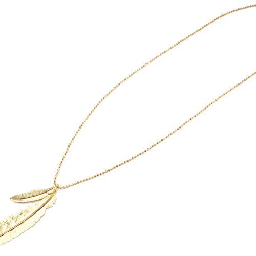 Sautoir-Collier-Chaine-Brillante-avec-Pendentif-Double-Plume-Ethnique-Relief-Metal-Dore