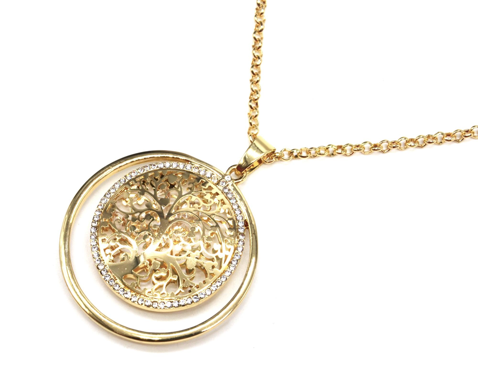 Cl1856e sautoir collier pendentif cercle arbre de vie ajour avec cristaux et contour strass - Arbre a collier ...