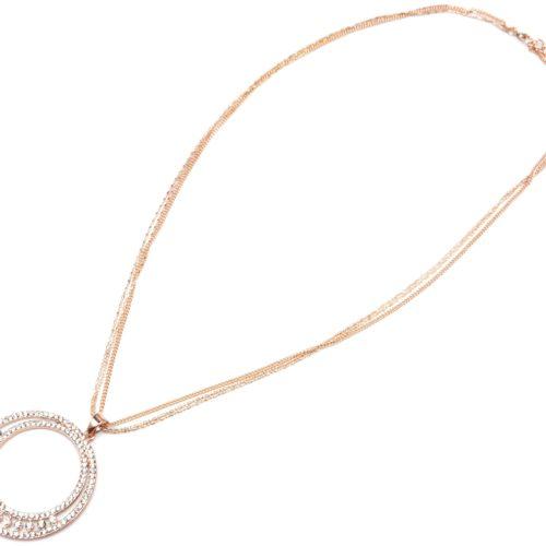 Sautoir-Collier-Multi-Chaines-avec-Pendentif-Double-Cercle-Contour-Strass-Or-Rose