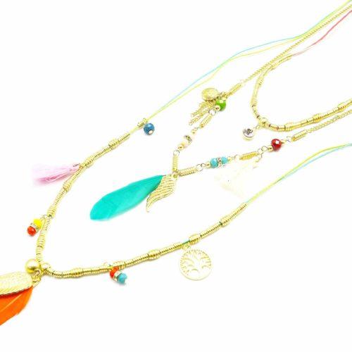Sautoir-Collier-Multi-Chaines-Plumes-et-Charms-Ethnique-MulticoloreDore