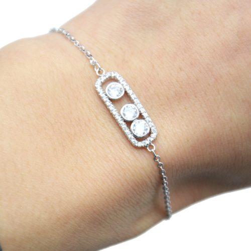 Bracelet-Fine-Chaine-Dore-a-lOr-Fin-avec-Triple-Pierres-et-Rectangle-Strass-Argente