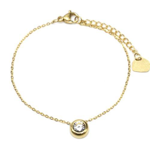 Bracelet-Fine-Chaine-avec-Charm-Pierre-Contour-Acier-Dore