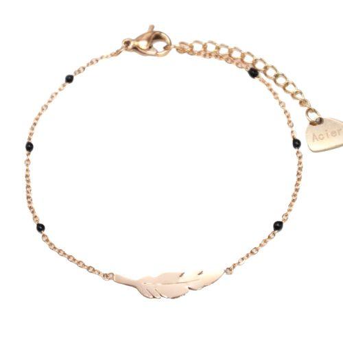 Bracelet-Fine-Chaine-Mini-Perles-Email-Noir-avec-Plume-Acier-Or-Rose