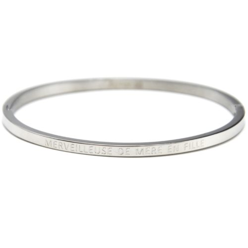 Bracelet-Jonc-Fin-Acier-Argente-avec-Message-Merveilleuse-De-Mere-En-Fille