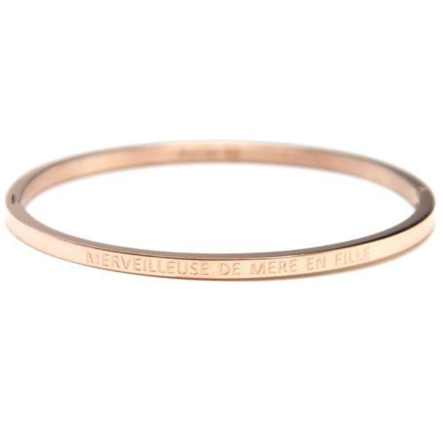 Bracelet-Jonc-Fin-Acier-Or-Rose-avec-Message-Merveilleuse-De-Mere-En-Fille