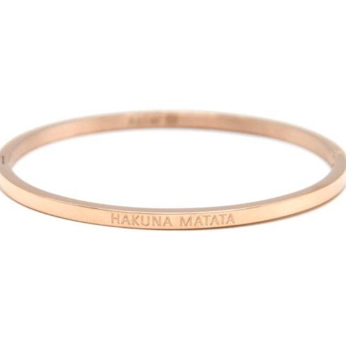 Bracelet-Jonc-Fin-Acier-Or-Rose-avec-Message-Hakuna-Matata