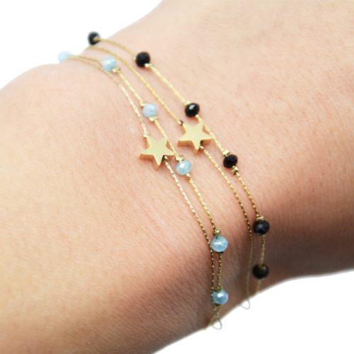 Bracelet-Double-Fine-Chaine-avec-Perles-et-Etoile-Acier-Dore