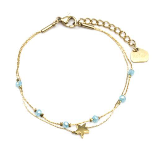 Bracelet-Double-Fine-Chaine-avec-Perles-Bleues-et-Etoile-Acier-Dore