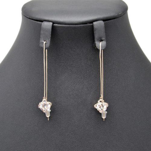 Boucles-dOreilles-Traversantes-Fine-Chaine-et-Trefle-Metal-Or-Rose-Pierre-Zirconium