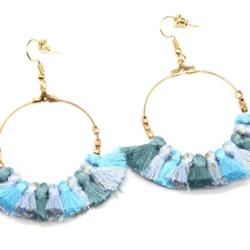 Boucles-dOreilles-Creoles-Pendantes-Metal-Dore-avec-Multi-Pompons-Turquoise-Bleu