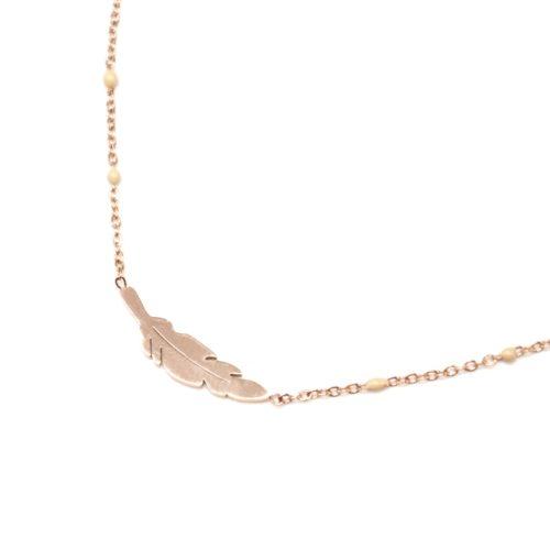Collier-Fine-Chaine-Mini-Perles-Email-Beige-et-Plume-Acier-Or-Rose