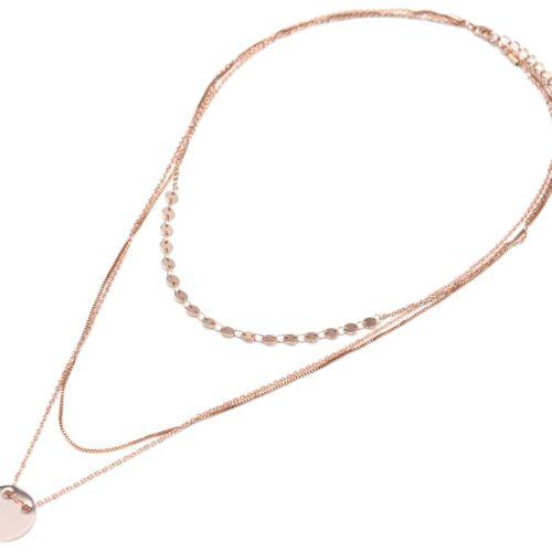 Collier-Multi-Rangs-avec-Mini-Cercles-Chaine-Serpent-et-Medaille-Metal-Or-Rose
