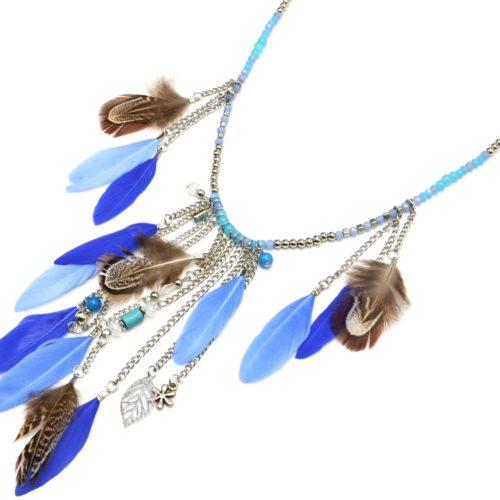 Sautoir-Collier-Mini-Perles-et-Pendentif-Y-Cascade-de-Chaines-et-Plumes-Ethnique-Bleu