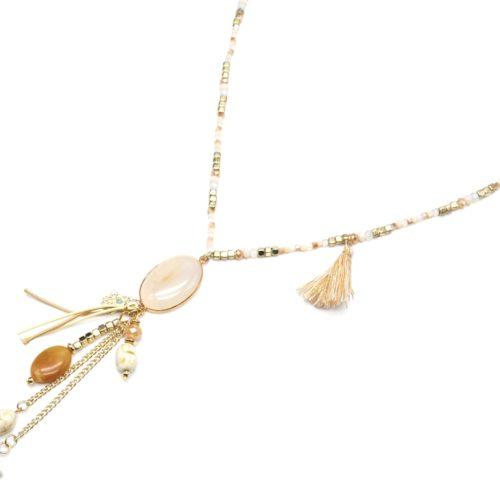 Sautoir-Collier-Mini-Perles-et-Pendentif-Y-Ovale-Pierre-et-Charms-Effet-Marbre-Ecru